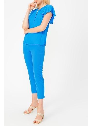 Random Kolu Fırfırlı Royal Bluz Mavi